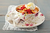 Muesli with raspberries, honey and Greek yogurt