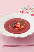 Cold strawberry and melon soup