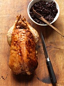 Roast chicken with red cabbage