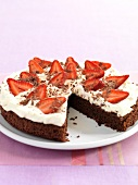 Chocolate cake with cream and strawberries (for diabetics)