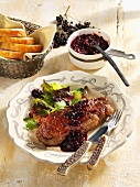Beef loin with elderberry chutney