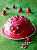 A strawberry dome cake decorated with coloured chocolate beans