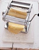 Pasta dough in a pasta maker