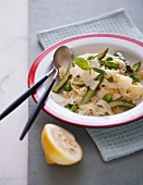 Tagliatelle with spring vegetables and Pecorino cheese