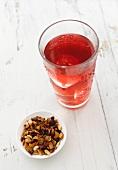 A glass of fruity iced tea