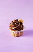A chocolate and banana cupcake