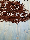 I love coffee written in grounds