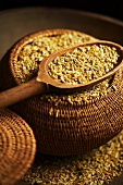 Freekeh (gerösteter grüner Weizen, Arabien) in Korb