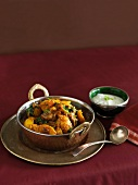 Lamb curry with raita (India)