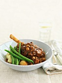 Braised leg of lamb with green beans