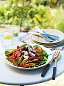 Vegetable salad with lamb and sweet potatoes