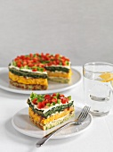 Spicy tart made from various vegetable flans