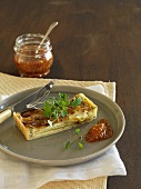 Leek and brie quiche with fig chutney