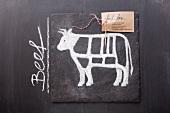 Gezeichnetes Rind und Etikett mit englischer Bezeichnung auf einer Schiefertafel
