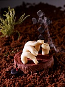 Marzipan fingers in a chocolate cake landscape