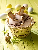 A sweet Easter bunny in a basket