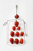 Making jam, real strawberries on drawing of jar