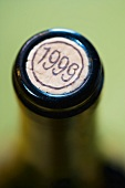 Vintage year printed on cork of wine bottle, close-up