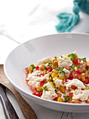 Hake ceviche with tomatoes and peppers