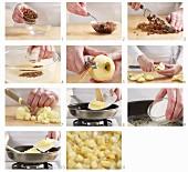 Rosinen und Apfelfüllung vorbereiten