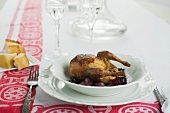 Braised quail with grapes