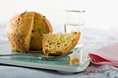 A lemon muffin, sliced