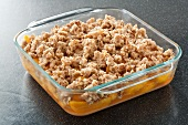 Fruit Crisp in Baking Dish Ready to be Baked