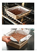 Brownies Baking in a Foil Lined Pan in Oven; Removing Brownies from Pan by Lifting Foil