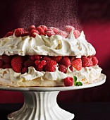Berry pavlova being dusted with icing sugar
