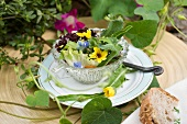 Mixed leaf salad with herbs and edible flowers
