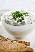 Goats cheese and parsley dip