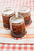 Bergamotte jam in jars turned upside down