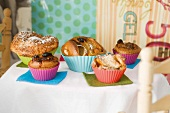 Assorted Muffins; One Chocolate Chip Muffin