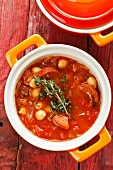 Vegetable stew with chickpeas and sausage