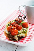 Toast topped with spring vegetables