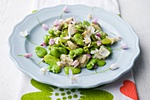 Bean and artichoke salad with edible flowers