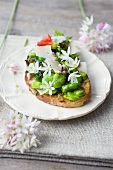 A slice of bread topped with broad beans, herbs and edible flowers
