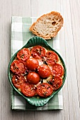 Mozzarella gratin with spinach and cherry tomatoes