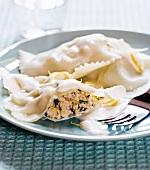 Chicken ravioli with lemon sauce