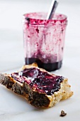 Toast topped with blackberry jam
