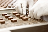 Industrial manufacture of filled chocolates: centres being prepared for coating with chocolate