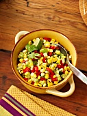 A corn and vegetable salad