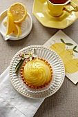 Individual Lemon Pie; From Above; Cup of Tea; Lemon Slices
