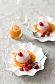 Raspberry mousse with citrus sauce