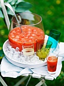 Summer punch with watermelon, orange and rhubarb
