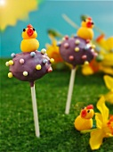 Cake pops decorated with marzipan chicks for Easter
