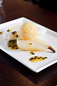 Meringue roll with poached pear and passion fruit sorbet