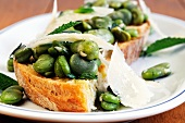 Bruschette con le fave (toasted bread topped with broad beans, Italy)