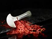 Saffron threads and a spoon