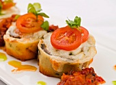 Pasta Timbale with Ground Lamb Filling Topped with Mozzarella and Tomato